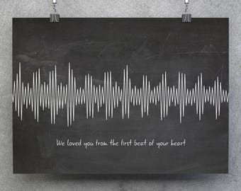 Baby Heartbeat, Heartbeat, Custom Wave Voice, Personalized Wave, Custom Sound Wave, Baby Shower Gift, Pregnancy Gift, Pregnancy Reveal