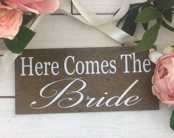"Here Comes The Bride Sign-12""x 5.5"" Rustic Wedding Sign-Ring Bearer Sign-Flower Girl Sign-Country Chic Wedding Sign"