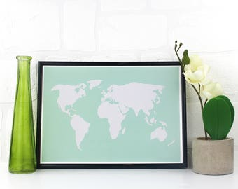 World Map Poster, Colour Map Of World, Art Print World Map, Map Of The World Poster, World Map In Different Colours, A3 A4 Sizes Available