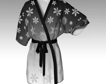 Snowflake Kimono, Kimono Robe, Draped Kimono, Dressing Gown, Grey Robe, Spa Robe, Beach Cover, Bridesmaid Robe, Loungewear, Swim Cover, Gift
