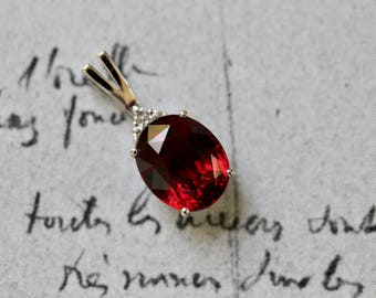 The Crimson Dahlia, Garnet and Diamond Pendant, Garnet Pendant, The Dahlia Pendant by Elizabeth Henry, Garnet Birthstone Pendant UPN084-N