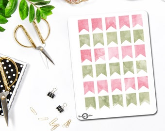 Flag Stickers, Banner Sticker, Watercolor Stickers, Planner Stickers, Bullet Journal Stickers