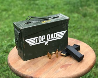 Top Dad Ammo Box / Father's Day Gift / Military Ammo Crate / Olive Drab Metal Box / Top Gun Style