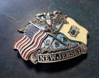 "Vintage New Jersey, USA ""The Garden State"" Pewter and Enamel Belt Buckle with Eagle, 1992"
