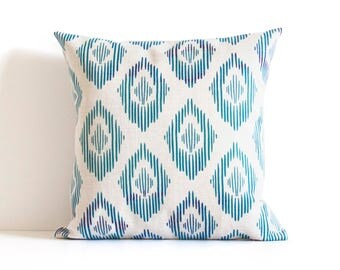 Blue Pattern Pillow Cover, Blue Throw Pillow, Decorative Pillow Cover, Cushion Cover