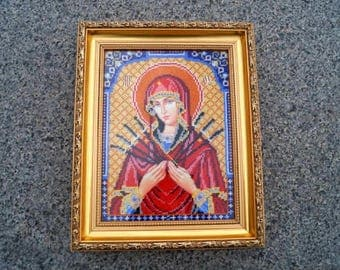 Gifts for mom Baptism gift Christian decor Christian icon Religious décor Christian gift Beaded Embroidery orthodox Icon christening gifts