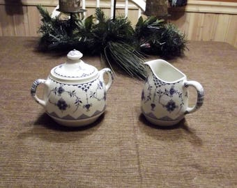 Franciscan *-* DENMARK BLUE *-* Creamer & Sugar Bowl w/Lid, Set of 2 or Individual