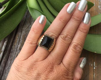 Vintage Sterling Silver Black Onyx with Gold Accents | Men's Rings | Men's Jewelry | Vintage Rings | Vintage Jewelry | Navajo