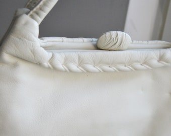Original Vintage white leather handbag, bag, 50s / 60s, mod