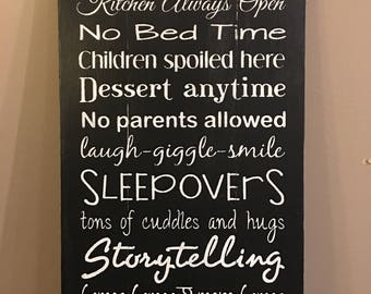 Rustic sign Grandparents House Rules, grandparents gift, home decor, grandparent sign, grandparent rules, rustic decor, Pallet sign