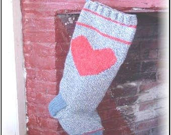 FOLK HEART Christmas Stocking Knitting Pattern