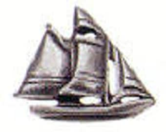 SCOONER Danforth shank pewter button