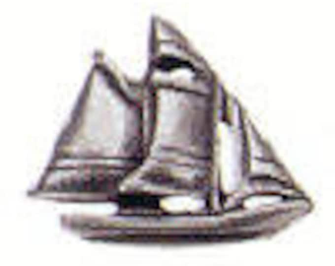 SCOONER Danforth shank pewter button