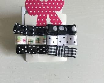 6 x mini black & white bow hair clips