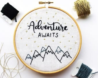 Hand Embroidery Hoop Art | Adventure Quote | Handlettering | Wall art nursery room gift|