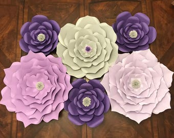 Set of 6 paper flowers