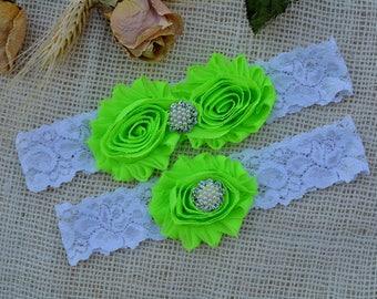 Wedding Garter, Wedding Garter Set, Bridal Garter, Neon Green Garter, Keepsake Garter, Bridal Toss Garter, Shabby Flower, Wedding Garters
