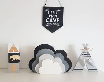 Stacking clouds. Wooden decor, stackable clouds, boys bedroom, nursery decor, monochrome nursery, shelfie, woodland decor, cloud decor