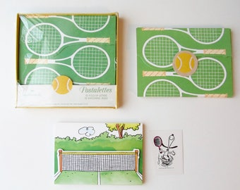 Tennis Postalettes Stationary Fold Up Letters and Matching Seals - Tennis Rackets and Snoopy Tennis
