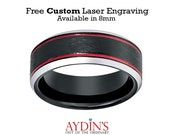 Tungsten Black Wedding Band, Ice Finish with 2 Red Stripes on 2 sides Beveled Edge 8mm Tungsten Wedding Ring