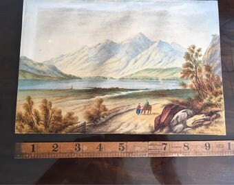 Watercolour of Lake District painted by victorian artist