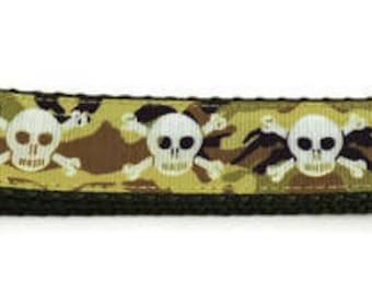 Large Camo Crossbones Adjustable Dog Collar