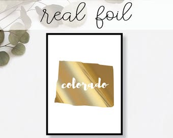 Colorado State Print // Real Gold Foil // Minimal // Gold Foil Print // Decor // Modern Office Print // Typography // Fashion Print