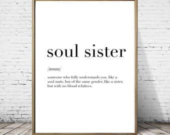 Soul Sister Definition Print // Minimalist Poster // Wall Art Print // Typography // Fashion // Scandinavian Poster // Boho // Modern
