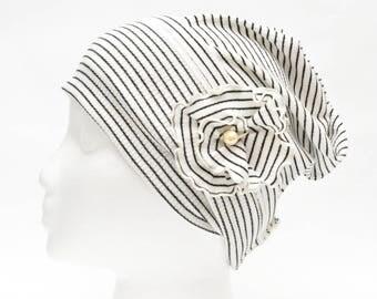 removable pin white cotton slouchy beanie, stripe chemo cap, flower cancer headwear, women's chemo hat, hair loss cap, bad hair day cap