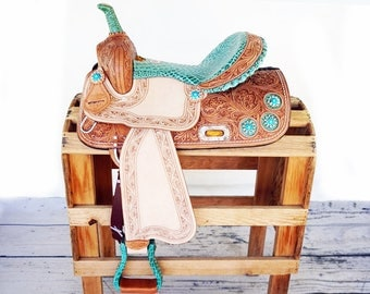 Handmade Turquoise Gator Rough Out Western Barrel Horse Trail leather Saddle Made To Order