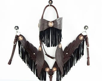 Handmade MadcoW Brown Angle Wings Fringe Wickett & Craig Hand Tooled Leather Headstall Western Horse Trail Show Bridle Breast Collar Set