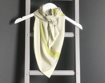 Cream and Lime Green Drape Scarf, Triangle Scarf, Unusual Scarf, Rew Clothing