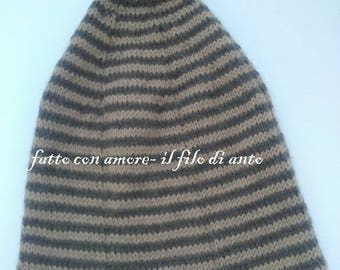 Long striped hat with pompom