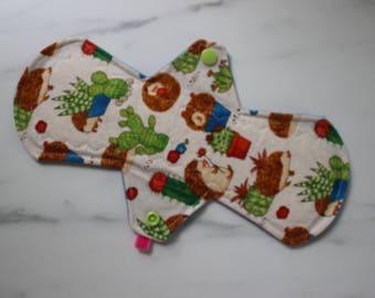 "10"" moderate pad, reusable cloth menstrual pad - cactus + hedgehogs"