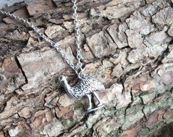 Rhea necklace, ostrich necklace, emu necklace, rhea pendant on silver plated chain. Emu gift.