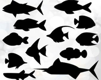 Fish SVG Bundle - Fish svg cut files - Fish Clipart SVG, Png, DXF - Cutting Files Svg, Eps - fish clipart - animal svg - Svg,ai,pdf,eps,dxf