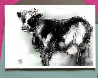 Cow card // cow birthday card // cow greetings card // farm animal card // animal art card // farmyard card // cow drawing // dairy cow card