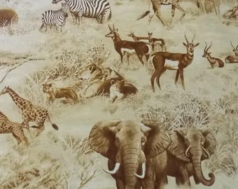 African Fabric SALE! African Animal Fabric Elephant Fabric Zebra Fabric Antelope Fabric Giraffe Fabric Skirt Fabric Curtain Fabric