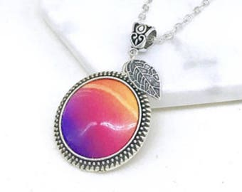Antique Silver Pendant sunset pendant silver leaf charm Gift for her Valentine Memories Vivid Sister