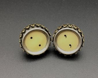 Typewriter key earrings, vintage typewriter key earrings, vintage typewriter jewelry, semi colon earrings, vintage earrings