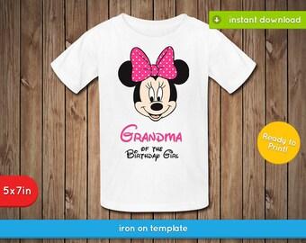 Minnie Grandma Of The Birthday Girl Printable Decal - Printable birthday Iron On, Transfer, Shirt, Label, Favors - JPG INSTANT DOWNLOAD