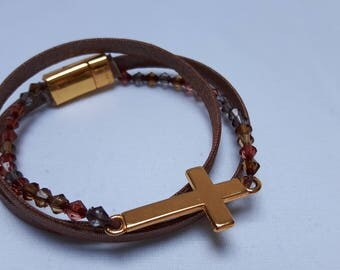 Wrap Bracelet by cotton, beads with a gold-colored cross