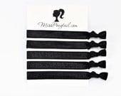 Skinny Black Hair Ties, Solid Black, Bulk Hair Ties, Knotted Hair Ties, Yoga Hair Ties, Handmade Hair Ties, Ponytail Holders, Elastic Bands