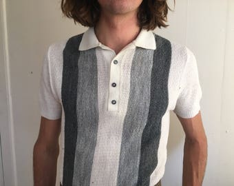 Mens Knit Polo Grey Vintage Small