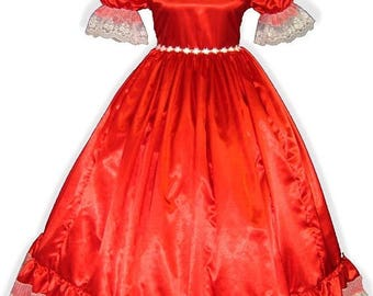 50% OFF SALE Crystal Custom Fit RED Satin Adult Sissy Dress up Gown Leanne