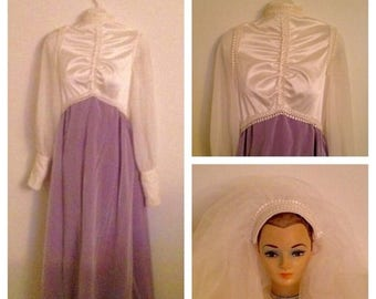 On Sale Gorgeous Vintage Cream and Lilac Wedding Gown with Veil