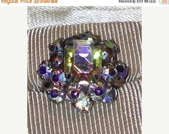 Anniversary Sale Gorgeous Vintage Aurora Borealis Adjustable Ring