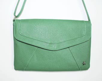 Faux green leather clutch bag