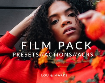 Film Pack for Lightroom & Photoshop Actions, Presets, ACRs for Bright Portrait and Modern Wedding Edits in Adobe Lightroom Photoshop