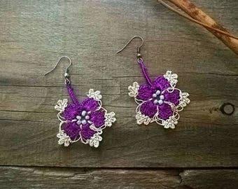 Purple cream earrings Turkish oya earrings Turkish crochet earrings Seed beads earrings Crocus lace jewelry Flowers floral guipure earrings